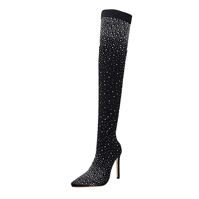POLPqeD Botas Altas Botines Mujer Botas Calientes Botines Tacones Mujer Zapatos Botas Botas largas Mujer Rodilla