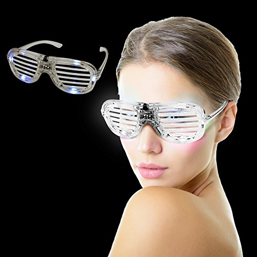 Fun Central AD20, 1 Pc, White LED Slotted Shades, LED Party Sunglasses, Glow Eyeglasses, Glow In The Dark Slotted Shades, Flashing Sunglasses     -
