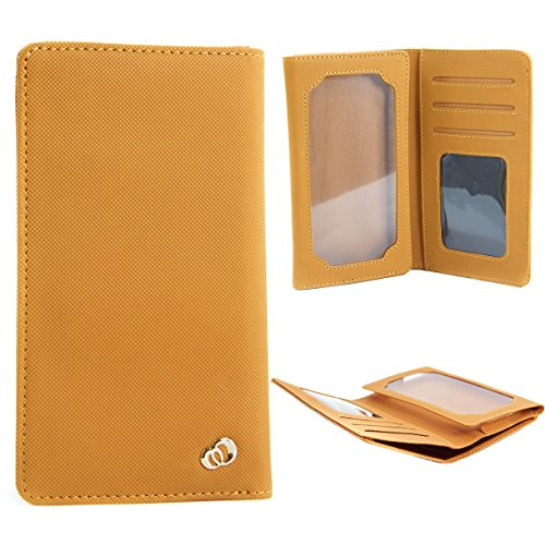 Bi-fold Univeral Textured Men's Wallet Case Fits Huawei Ascend G740, G740-L00, G750-T00 /Honor 3X /Glory 4 ::TAN::