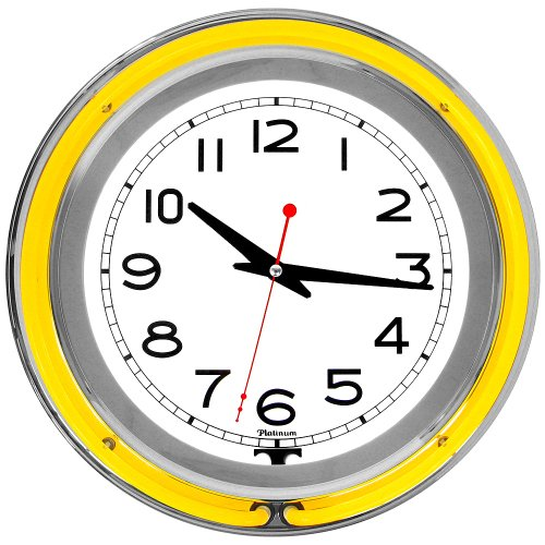 Case Neon Wall Clock (Trademark Gameroom Yellow Chrome Double Ring Neon Clock, 14