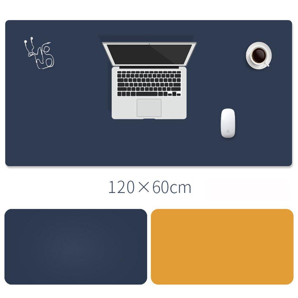 ultra sottile 120x60cm Darkblue// Yellow tappetino per la zona lavoro multifunzionale e impermeabile in pelle sintetica PU /è ideale per lufficio poich/é funziona anche come tappetino da mouse