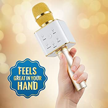 Wireless Microphone Karaoke Mic Amplifier Machine Bluetooth Handheld Portable Broadcast, Present, Youtube Songs Connect Android, Apple & Computers – By Karaoke-mike(gold) 6
