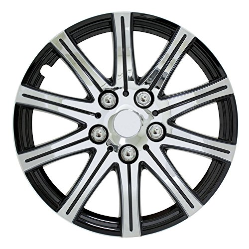 Pilot Automotive WH528-15SE-BX Universal Fit Black and Silver 10-Spoke 15 Inch Wheel Covers - Set of 4