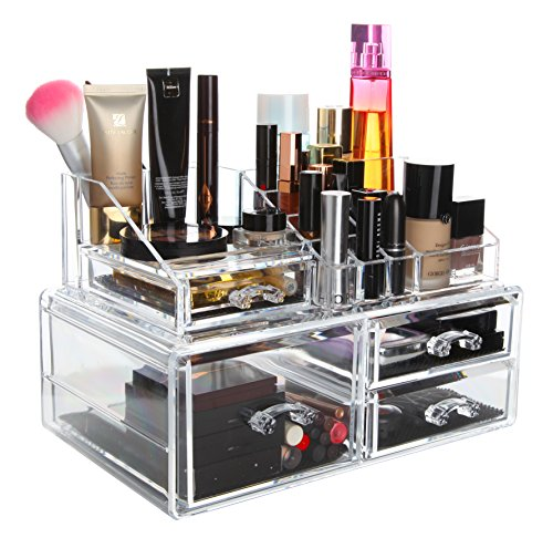 Finnhomy 2 Tier Acrylic Makeup Cosmetic Jewelry Diamond Organizer 2 Piece Set Counter Storage Case Larger Display Drawer Box Bathroom Vanity Case for Lipstick/Brush/Nail Polish New Design Clear