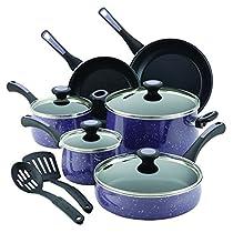 Paula Deen 16986 Riverbend Nonstick Cookware Pots and Pans Set, 12 Piece, Lavender Speckle