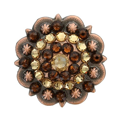- Swarovski Rhinestone Crystal Copper Berry Concho - Light Colorado Topaz and Smoked Topaz - 1-3/4
