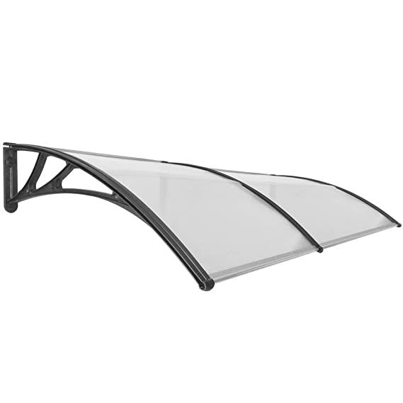 Canopy awning for door and window 100x80cm Patio cover shelter black PrimeMatik