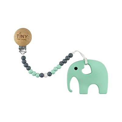 Tiny Teethers Pacifier Clip with Teething Toy and Chewbeads for Baby - BPA Free Silicone (Elephant) : Baby