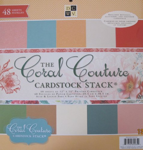 DCWV The CORAL COUTURE CARDSTOCK STACK Pad of 48 SHEETS 12