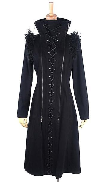 Giacca, colore nero a lacci, collo e spalle in pelliccia y
