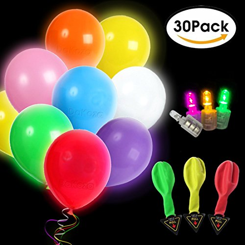 LED Light Up Balloons 30 Pack Mixed Colors Flash Latex Glow In The Dark Balloons - Premium Party Lights for Christmas Party, Birthday, Wedding Decorations - Fillable with Helium, Air, - Dark Glow The In How A To Party Make