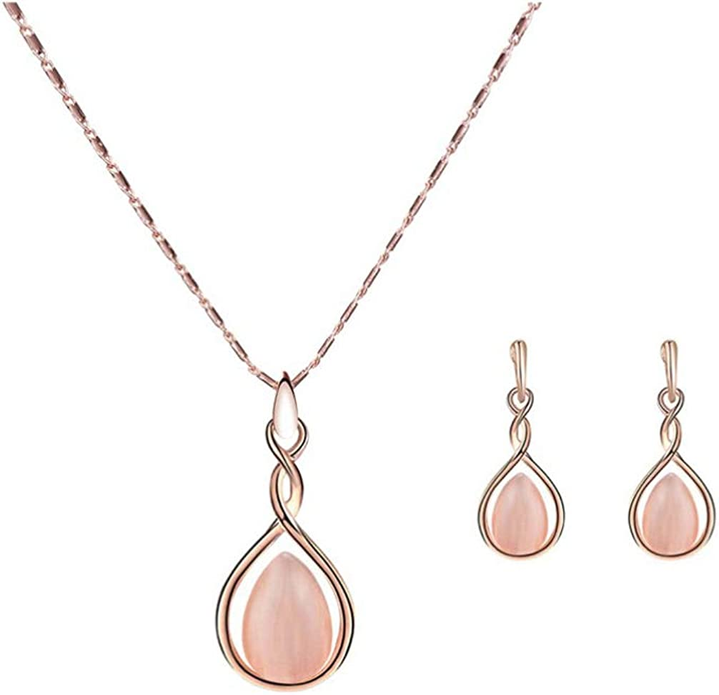 Amosfun Conjunto de collar de pendientes de ópalo elegante collar de pendientes de piedra de ojo de gato para regalos de boda para mujeres
