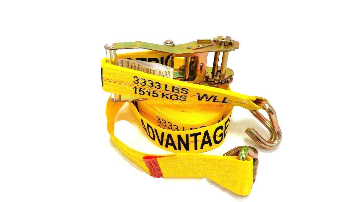 Heavy Duty Ratchet Strap Tiedown 27 X 2 with Wire J Hooks 10k Break Strength 10 Pack