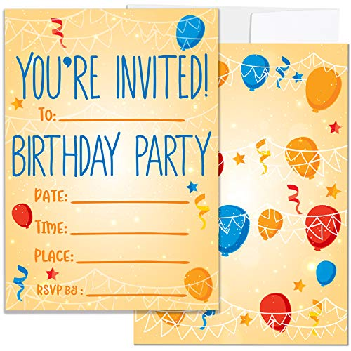 Party Invitations for Boys, Girls, Kids | 25 Invite Cards with Envelopes | Birthday Party -