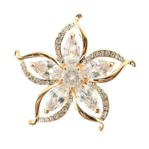 Accented Flower Brooch - Hosaire Brooch Pin Fashion Sun Flower Shape Luxury Style Accented Brooch Pin Shiny Zircon Breastpin For Wedding