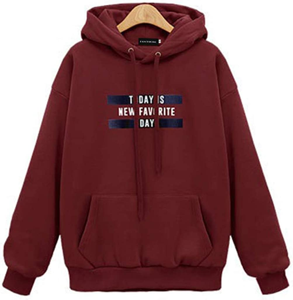 KULA Letter Print Hoodie Long Sleeve Pullover Loose Hooded Sweatshirt