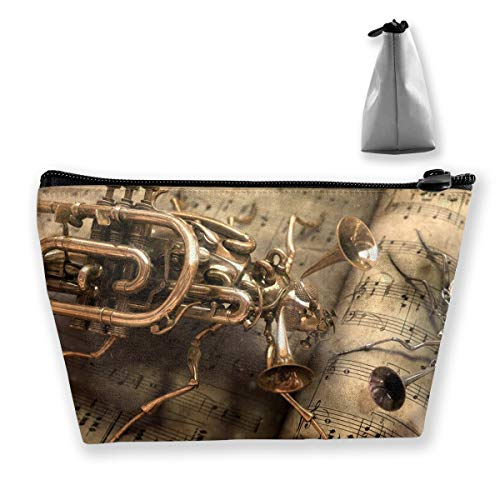 Trapezoid Toiletry Pouch Portable Travel Bag Steampunk-instruments-wallpaper-music-paper Makeup Bag
