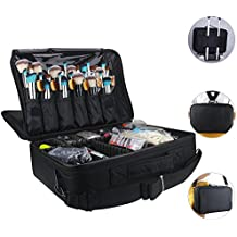 Professional Cosmetic Organizer Makeup Train Case 2 layer Large size Make Up Artist Box with Adjustable Shoulder for Makeup Brush set Hair style nail beauty tool (Large Black)