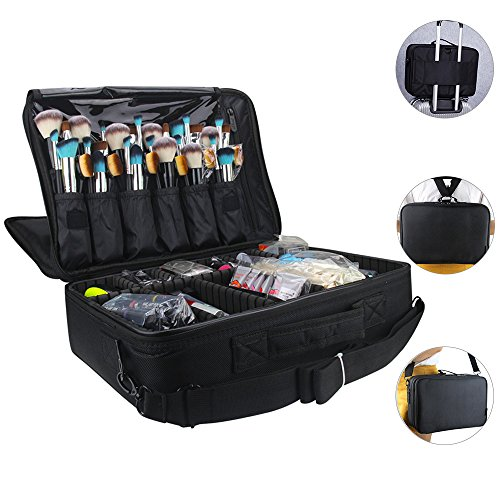 Professional Cosmetic Organizer Makeup Train Case 2 layer Large size Make Up Artist Box with Adjustable Shoulder for Makeup Brush set Hair style nail beauty tool (Large ()