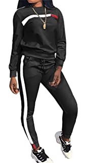 956724b3cd Womens Stripe Patchwork Two Piece Sweatsuit Cowl Neck Pullover and Skinny  Long Pants