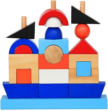 LIPETLI NIñez Temprana Color Educación Torre Tradicional Jenga Juguetes Torre Bloques Juguete Habilidad Educativo Juego Equilibrio Torre Madera Apilamiento Bloques Madera Niños Family: Amazon.es: Deportes y aire libre