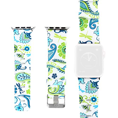 GXOK Soft Silicone Floral Pattern Sport Strap Replacement Watchbands for Apple Watch Series 4/3/2/1 Bands Men Women 42/44mm (Color F) ()