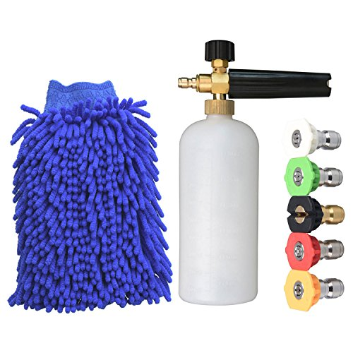 JINWEN 128 Foam Cannon Pressure Washer Jet Wash Bottle, 5 Nozzle Tips and A Cleaning Gloves
