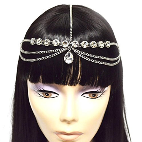 Teardrop Accent - Silver Tone Womens Tear Drop Rhinestone Accent Head Chain Jewelry IHC1032R