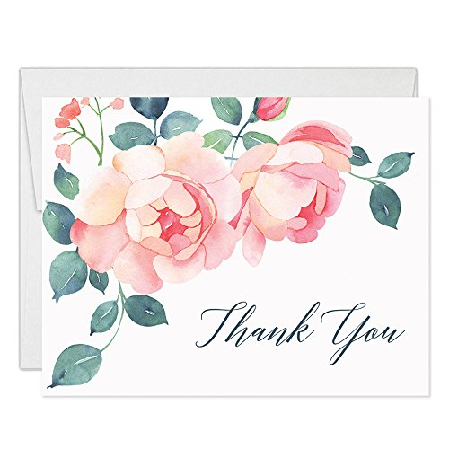 Gorgeous Pink Blossoms Thank You Cards with Envelopes ( Pack of 50 ) Blank Folded All Occasion Thanks Notecards Birthday Graduation Baby Bridal Shower Wedding Thank You Notes Excellent Value VT0020
