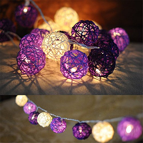 (DealBeta Battery Purple Rattan Ball String Lights with Timer,8 Mode,20 Warm White LED Indoor Starry Lights for Girlroom Babyroom Bunk Bed School Dormitory [ Rattan Ball's Diameter:5cm/2.04 in ] )