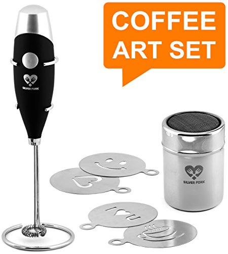 Milk Frother Coffee Art Set - Handheld Electric Portable Drink Mixer Wand Battery Operated Foam Maker - Cappuccino Hot Chocolate Latte Frappe + Stainless Steel Stand + Cocoa Shaker + 4 Art Stencils