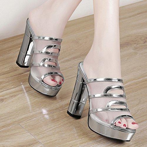 HWF mujer Altos Sandalias Zapatillas para Mujer La Color Tacones Zapatos Verano 38 La Tamaño Plata Plata qR0xEw5cU