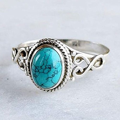 ZHX Genuine Women's 925 Sterling Silver Ring Oval Cut Natural Bohemia Turquoise Jewelry Birthday Proposal Hollow Engagement Party Band Rings Size 6-10 Multi-Color 9