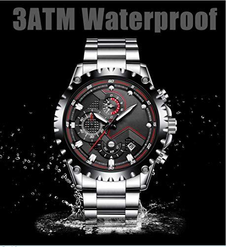 N·XHXL herrklocka, mode sport kvarts klocka klockor full stål business vattentät armbandsur, fantastiska gåvor för henne, svart silver