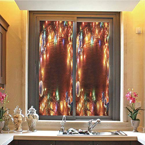 Christmas Decorations 3D No Glue Static Decorative Privacy Window Films, Fairy Lights on Wooden Rustic Pine with Ornaments and Candy Lollies,17.7