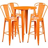Flash Furniture 30'' Round Orange Metal Indoor-Outdoor Bar Table Set with 4 Cafe Stools