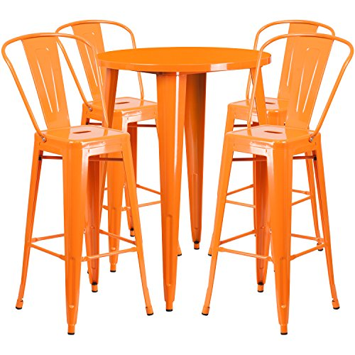 Flash Furniture 30'' Round Orange Metal Indoor-Outdoor Bar Table Set with 4 Cafe Stools