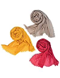 Wobe 3pcs Women Soft Cotton Hemp Scarf Shawl Long Scarves