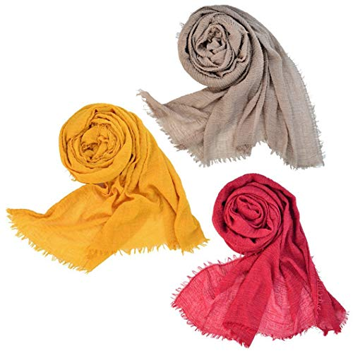 (Wobe 3 Pcs Women Soft Cotton Hemp Scarf Shawl Long Scarves, Travel Sunscreen )
