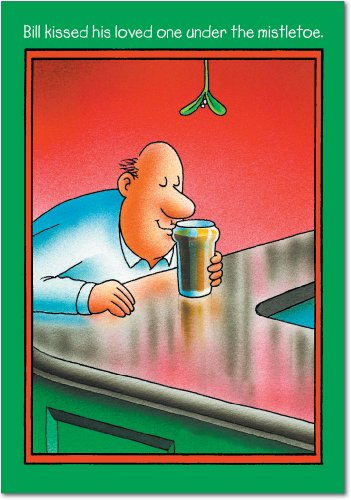 (12 'Bill Kissed Beer' Boxed Christmas Cards with Envelopes 4.63 x 6.75 inch, Funny Alcoholic Christmas Notes, Hilarious Beer Cartoon Holiday Notes, Humorous Christmas Stationery B5708)