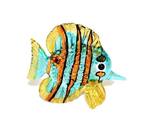 ChangThai Design Aquarium Coastal Style MINIATURE HAND BLOWN Art GLASS Fish Orange Blue Snapper FIGURINE Collection - Orange Hand Blown Glass Art