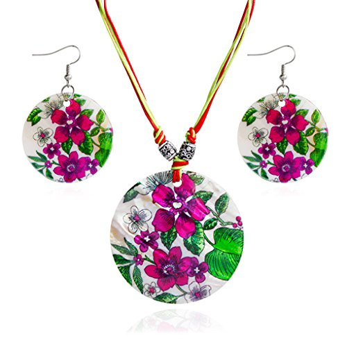 Flowers Shell Earrings (M-Egal Women Round Flowers Earring Necklace Set Natural Shell Jewelry Sets)