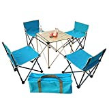 ZFF Folding Camping Table and Chairs Aluminum Ultralight Roll Up Table Top for Picnic Hiking Travel Beach Barbecue,5PCS