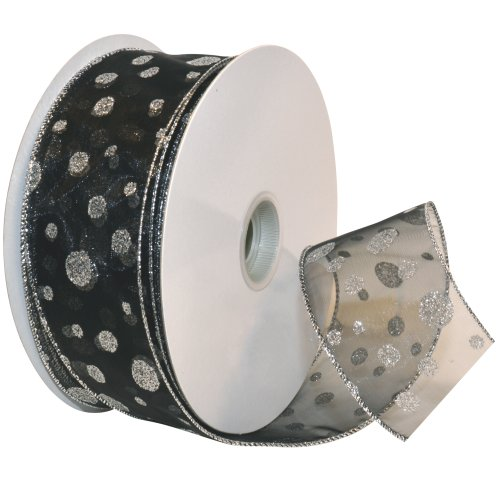 Morex Ribbon Glitter Dots Wired Sheer Glitter Ribbon, 2-1/2-Inch by 50-Yard Spool, Black/Silver