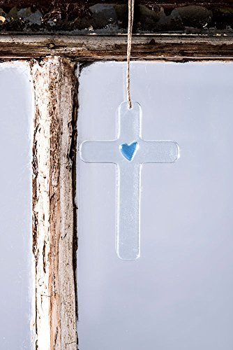 J Devlin Orn 234 Cross Glass Ornament With Blue Heart 2 1/2