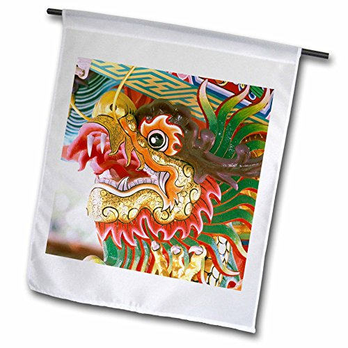 3dRose fl_71083_1 Thailand/Bangkok Dragon in Chinese Temple AS36 RYO0190 Russell Young Garden Flag, 12 by 18-Inch (Bangkok Thailand Patio)