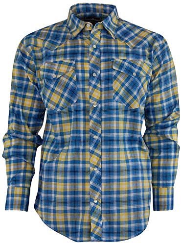 - Casual Country Men's Snap-Front Western Plaid Shirt (X-Large, Blue/Yellow)