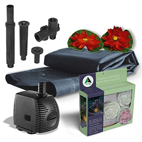 Algreen Pond Kit with Solar Lighting, 300-Gallon