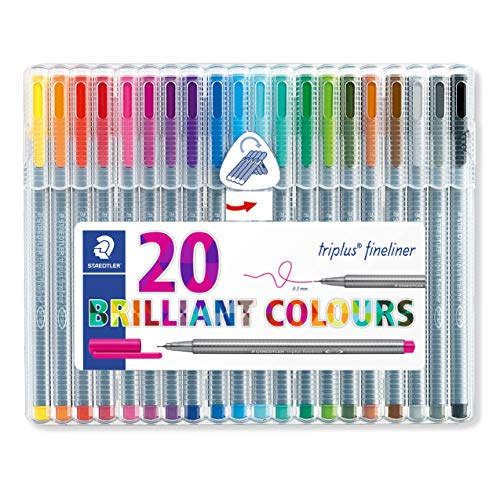 Staedtler Triplus Fineliner Pens, .3mm, Metal Clad Tip, 20-Pack,...