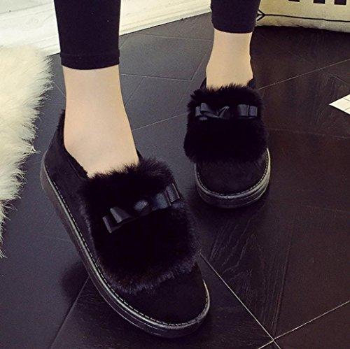 Ama (tm) Dames Plat Enkellaars Gevoerd Winter Warme Sneeuwlaarzen Loafer Lui Schoenen Zwart